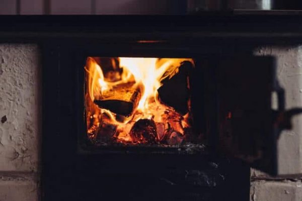 burning wood burner stove